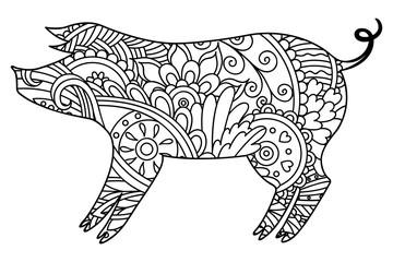 Black and white decorative pig.