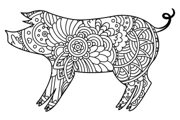 Black and white decorative pig.