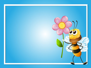 Frame template with bee and flower