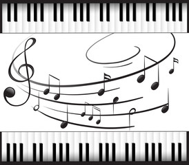 Background template with piano keyboard and music notes