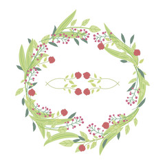 Wreath of red roses in a light green leaf and branches