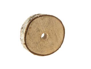 birch round wood on isolated white background
