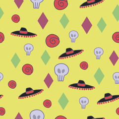Yellow bright positive seamless pattern with roses, hats, skulls