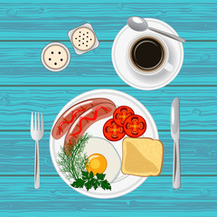Breakfast with fried egg, sausages, toast and coffee. Top view. Vector illustration.
