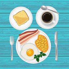 Traditional breakfast with fried egg, bacon, beans, toast and  coffee. Top view. Vector illustration.