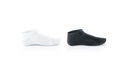 Blank black and white shortsocks design mockup, isolated. Pair black and white sport cotton socks wear mock up. Small clear soft sock stand presentation. Male female plain socks template.