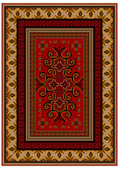 Vintage luxury carpet with yellow edges and ethnic patterns on a red field in the center