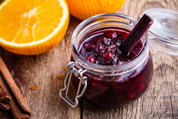 Cranberry sauce in glass jar