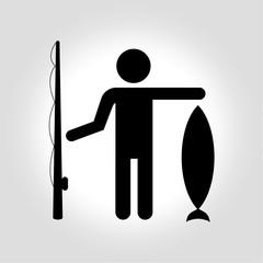 Fisherman icon. Vector illustration