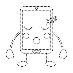 smartphone kawaii phone character cartoon vector illustration sticker design