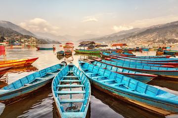 Boats on Lake Fewa, Pokhara, Nepal