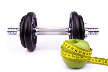 Fitnesssport und Diät Konzept auf weißem Hintergrund