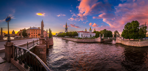 Panorama of Russia. A summer day in St. Petersburg. Channels of Petersburg. Smolny Cathedral in St. Petersburg. Architecture of Russia. Street Petersburg