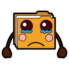 file folder sad emoji icon image vector illustration design