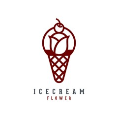 Cherry Ice Cream Flower Logo, Ice Cream Cherry Logo, Flower Logo, Cherry Outline Design Logo Vector Illustration