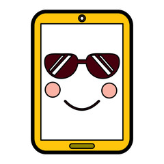 cellphone sunglasses  emoji icon image vector illustration design