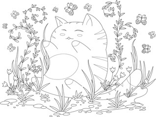 coloring book page for adult and kids. happy kitten with flowers and leaves