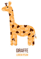 Funny Cute Abstract Giraffe Figure Logo