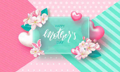 Happy Mother's Day - banner. Beautiful Background with flowers and hearts. Vector Illustration