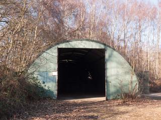 old unused bunker door way shed outside land