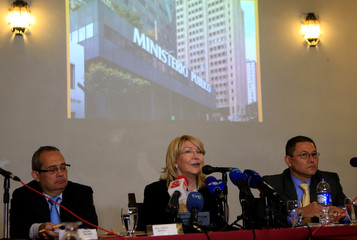 Venezuela's former chief prosecutor Luisa Ortega Diaz speaks during a news conference in Bogota