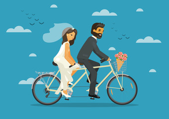 Just married. Bride and groom together riding tandem bike. Wedding concept. Vector illustration.