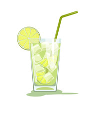 Glass of Caipirinha cocktail with straw. Vector illustration isolated on white background