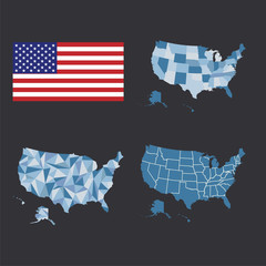Outline map of the United States of America. States of the USA. Vector illustration.US map with state borders and flag.