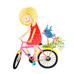 Friendship and summertime riding bike. Vector illustration.
