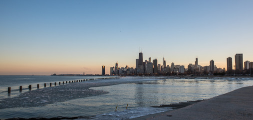 Big City skyline along lakeshore