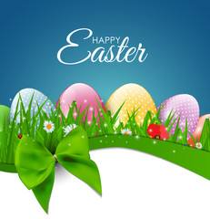 Happy Easter Natural Background with Eggs, grass, flower. Vector Illustration
