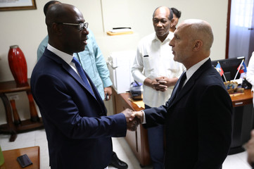 Oxfam's Ticehurst shakes hands Minister of Planning and External Cooperation Aviol Fleurant at his arrival for a meeting in Port-au-Prince