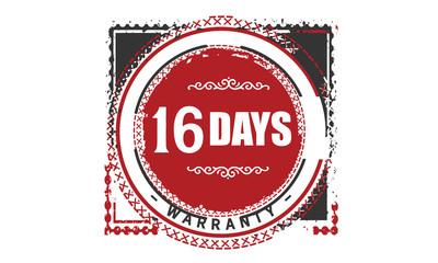 16 days warranty rubber stamp