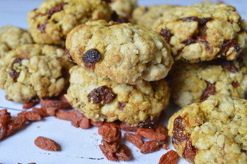 Homemade oatmeal cookies with dried red goji berry