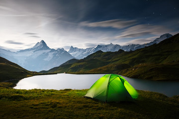 Wall Mural - Great view of rock Schreckhorn above Bachalpsee lake. Location place Swiss alps, Grindelwald valley, Bernese Oberland, Europe.