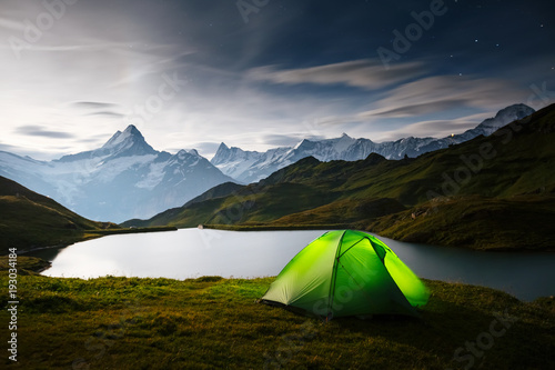 Wall mural Great view of rock Schreckhorn above Bachalpsee lake. Location place Swiss alps, Grindelwald valley, Bernese Oberland, Europe.