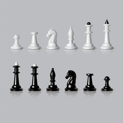 Black and white chess pieces set in vector