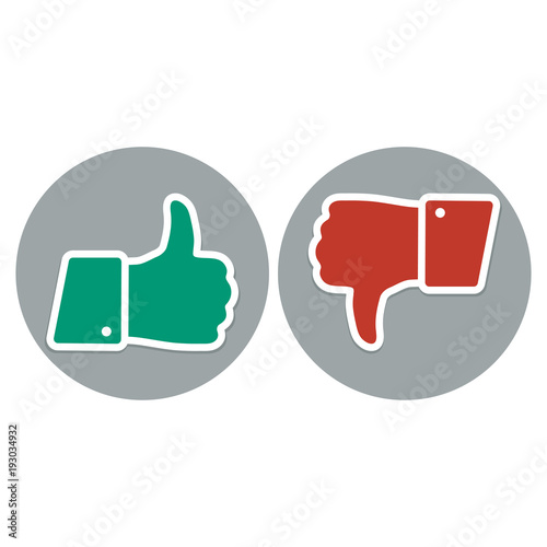 Like And Dislike Symbol Thumb Up And Down Red And Green Icons