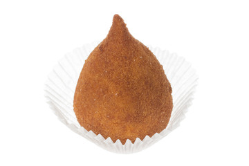 Coxinha is a deep fried food, traditional in Brazil. Isolated on white background.