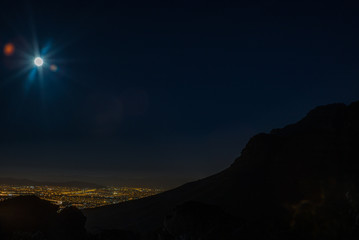 View of Cape Town and its harbour in summer from Table Mountain during the super moon - 5