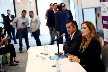 Independent presidential pre-candidate Jaime Rodriguez, also known as Bronco, speaks during a news conference in Mexico City