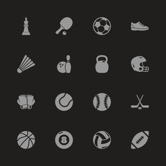 Sport Equipment icons - Gray symbol on black background. Simple illustration. Flat Vector Icon.