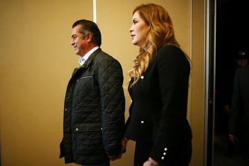 Independent presidential pre-candidate Jaime Rodriguez, also known as Bronco, arrives with his wife Adalina Davalos for a news conference in Mexico City