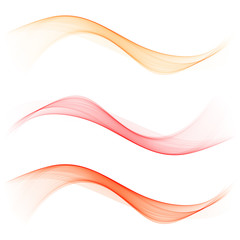 Set abstract color wave. Color smoke wave. Transparent wave. Abstract smooth wave vector. Red wave. Wave orange.
