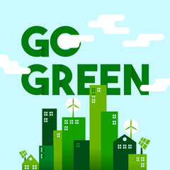 Green city flat art concept for environment care