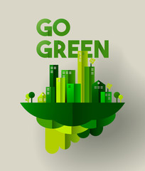 Green city paper cut concept for environment care