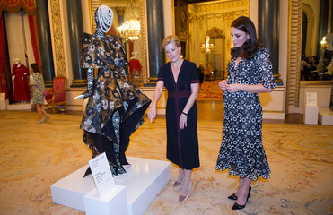 Catherine and Countess of Wessex, attend reception to celebrate the Commonwealth Fashion Exchange at Buckingham Palace in London
