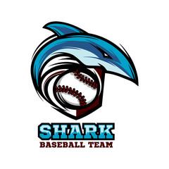 Shark Baseball Logo Vector 02