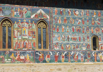 Illustrations of frescoes on outer walls of church