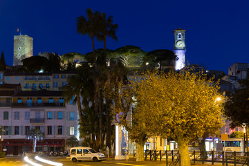 Streets of Cannes in the evening in France